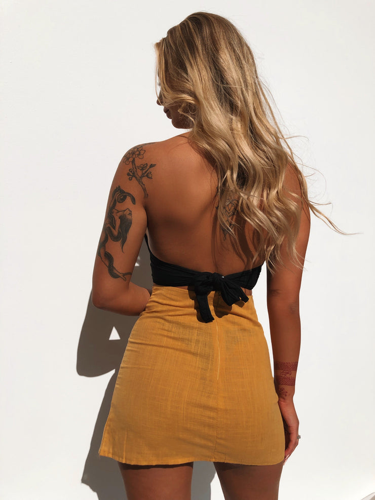 MARGO LINEN SKIRT MUSTARD PRE ORDER - Generation Outcast Clothing