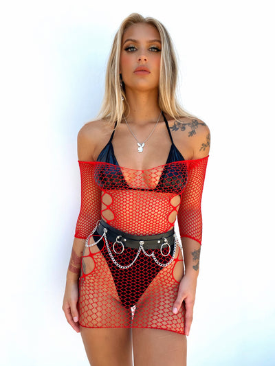 CROWN MESH DRESS RED PRE ORDER - Generation Outcast Clothing