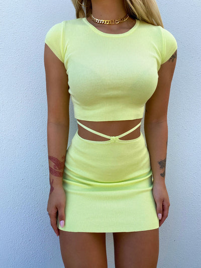 DIRECTION MINI SKIRT LIME