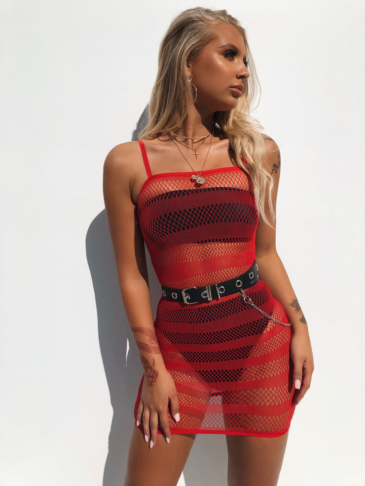 LATE NIGHT MESH DRESS RED - Generation Outcast Clothing