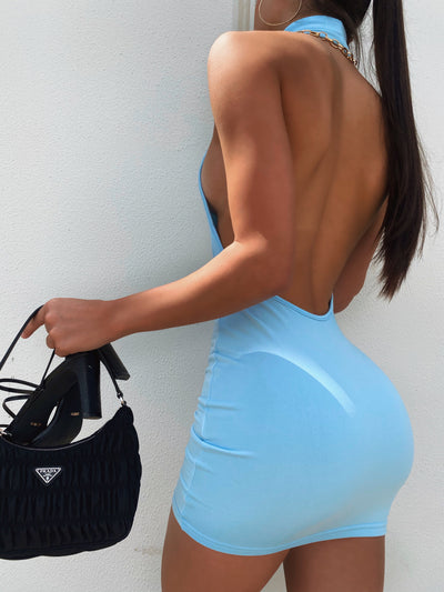 PARKER DRESS BACKLESS PASTEL BLUE