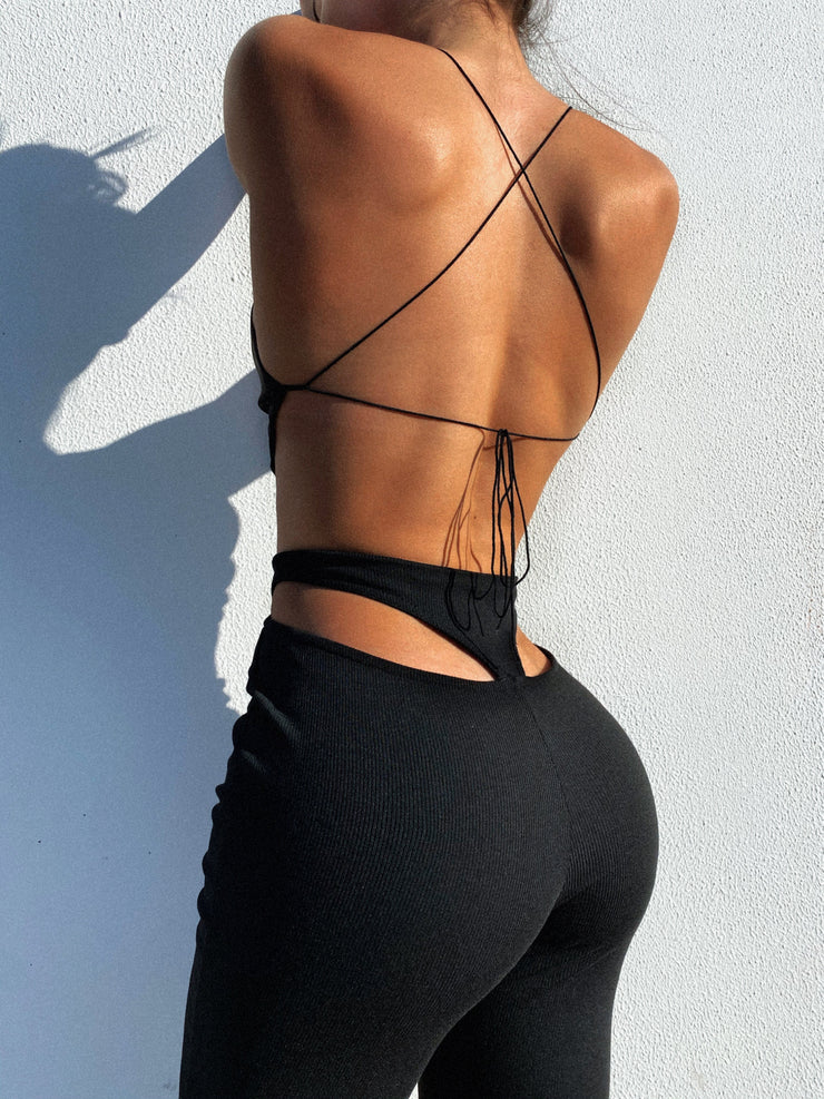 SOPHIA CUT OUT PANTS BLACK