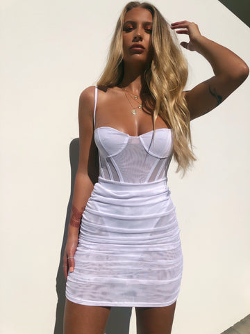 EASTSIDE SLIP DRESS WHITE