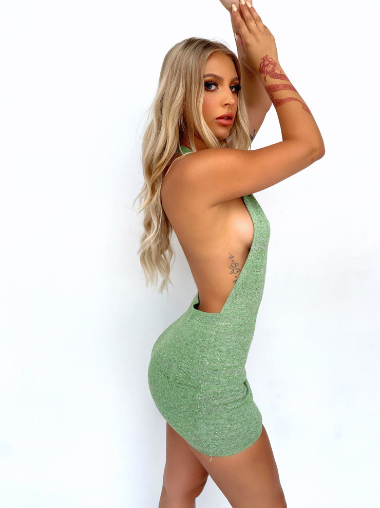 CHERI BACKLESS MINI DRESS SAGE