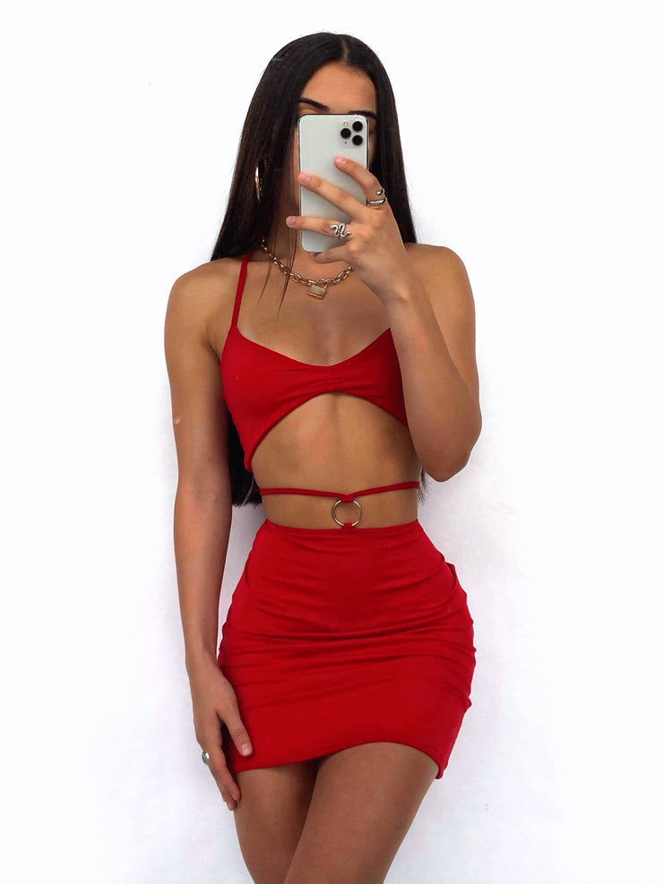 STRAIGHT FORWARD TWO PIECE SET RED