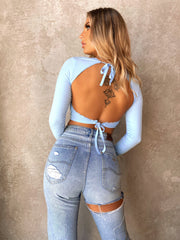 CINDI LONG SLEEVE CROP BLUE