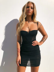 DAYNA MESH DRESS BLACK - Generation Outcast Clothing