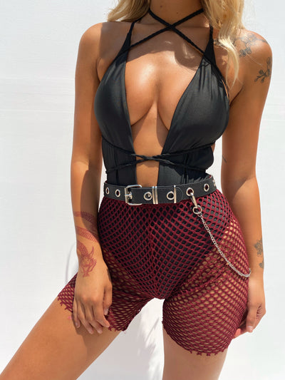 GIA MESH SHORTS WINE - Generation Outcast Clothing