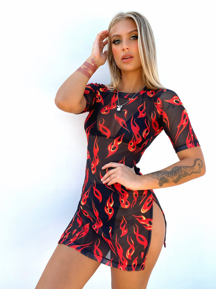 THROW BACK MESH DRESS PRE ORDER - Generation Outcast Clothing