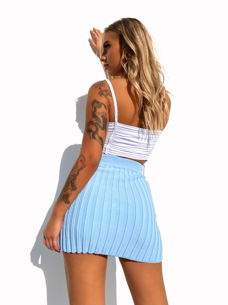 CHASE KNIT SKIRT PASTEL BLUE