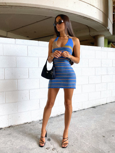 CAPRI KNIT MINI DRESS BLUE