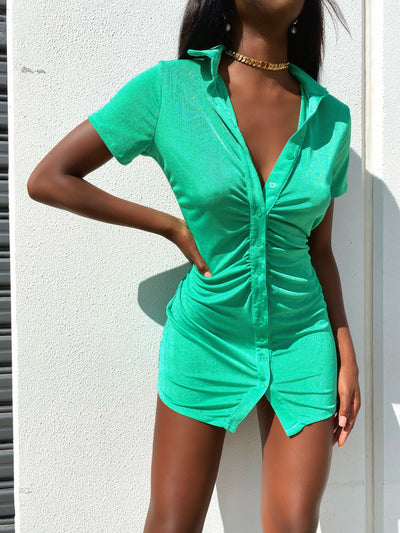 TRAVEL FILM MINI DRESS VIBRANT GREEN