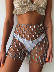 FLARE GUN GEM SKIRT SILVER - Generation Outcast Clothing