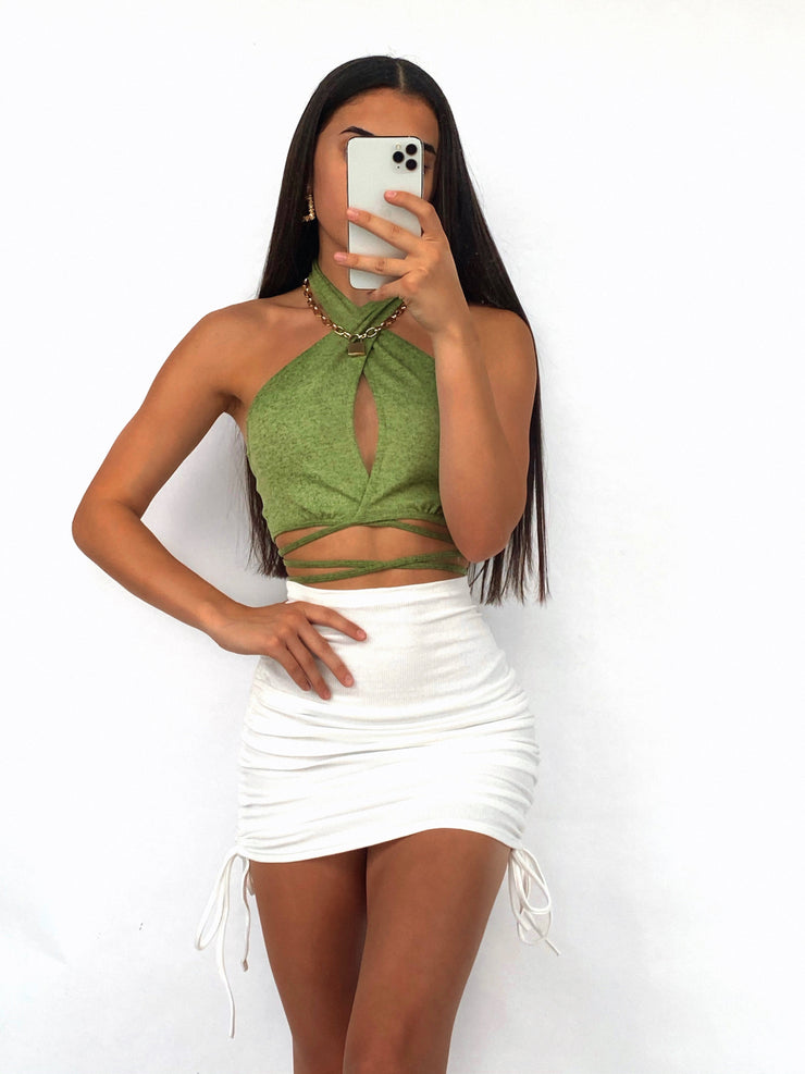 BLANK CANVAS CROP TOP GREEN