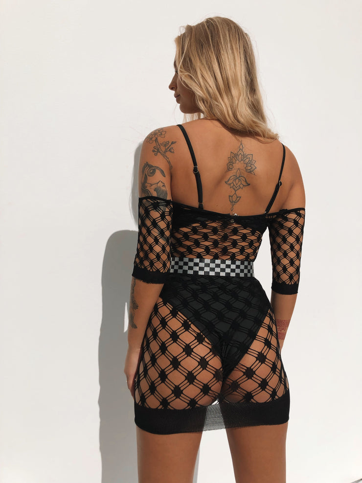 CONCEPT MESH DRESS BLACK - Generation Outcast Clothing