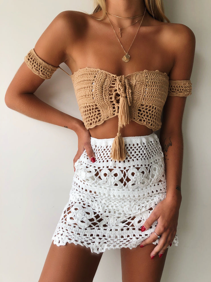 PIXIE CROP TOP TAN - Generation Outcast Clothing
