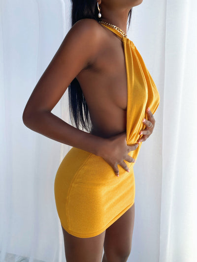 CHERI BACKLESS MINI DRESS MUSTARD
