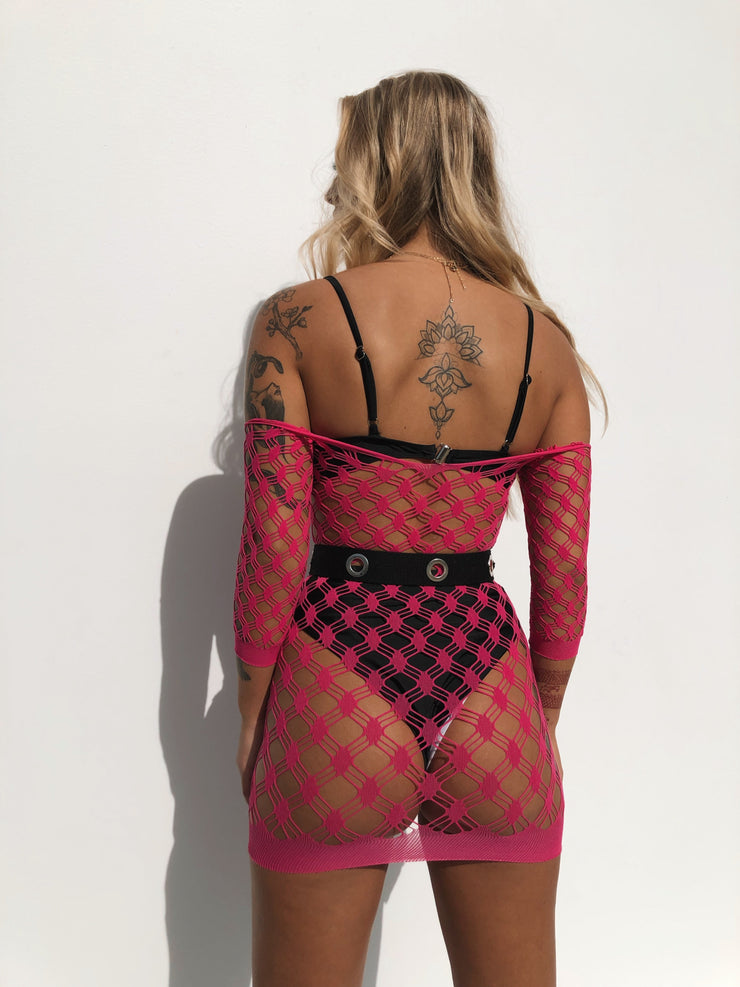 CONCEPT MESH DRESS PINK - Generation Outcast Clothing