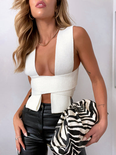 INSIDE LOOK KNIT CROP CREAMY WHITE