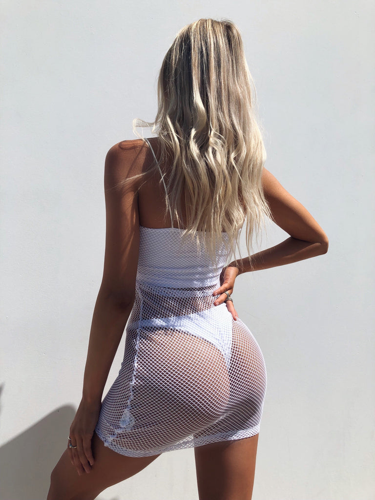 PAIGE FISHNET DRESS WHITE