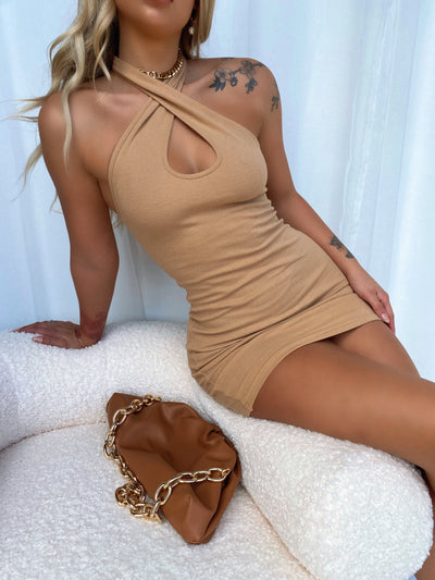 DAYLIGHT HALTER MINI DRESS TAN