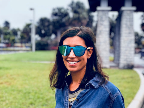 Customer wearing Sunrise Green Sunglasses
