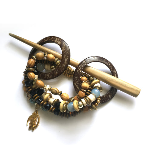 Blue Gye Nyame Coconut Shell Hair Slide with Stick
