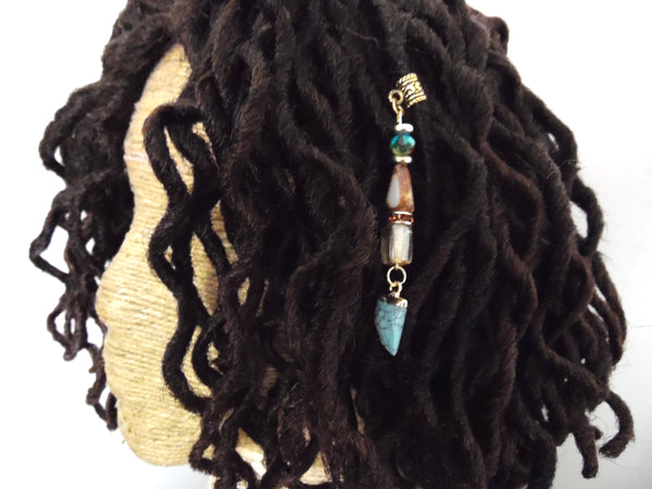 Turquoise Tiger Tooth Dreadlock Jewelry