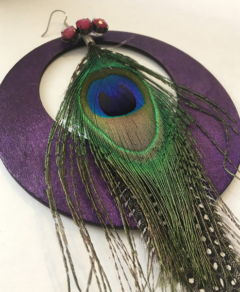 Purple Peacock Statement Earrings - Loccessories™