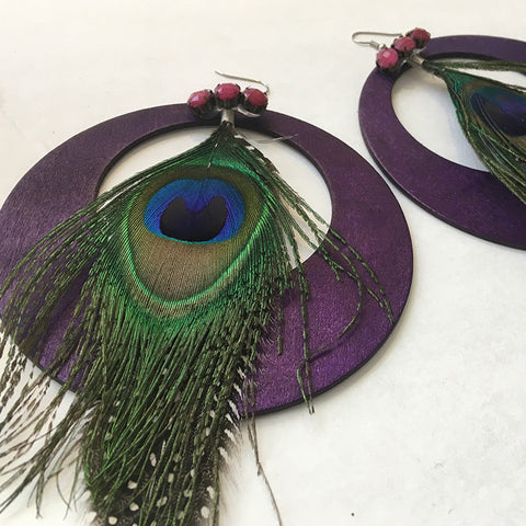 Purple Peacock Statement Earrings