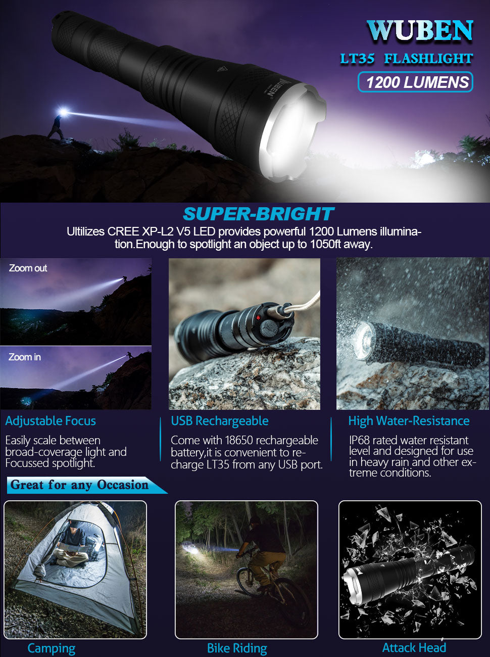 flashlight; torch; 1200 lumens, cree; LED;  torch led; torches;