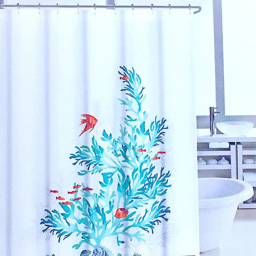 Aqua Teal Seagrass And Colorful Tropical Fish Fabric Shower Curtain