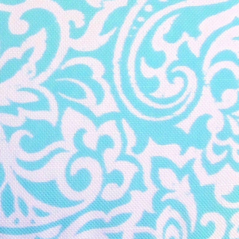 Tablecloth   Aqua Blue And White Paisley Floral Fabric Tablecloth