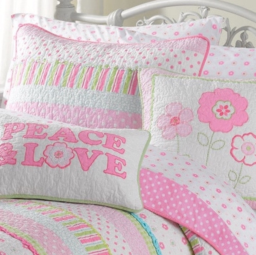 Layla girls quilt set pink green blue stripes flowers for Striped and polka dot pumpkins
