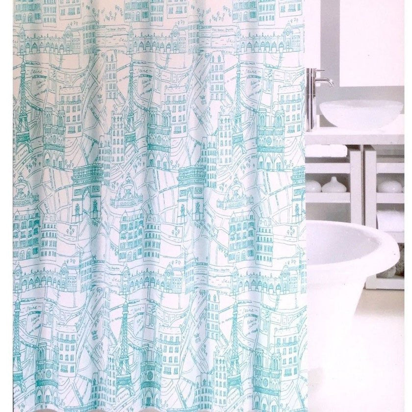 Fabric Shower Curtain Paris Map Aqua Teal Eiffel Tower French - Paris map fabric