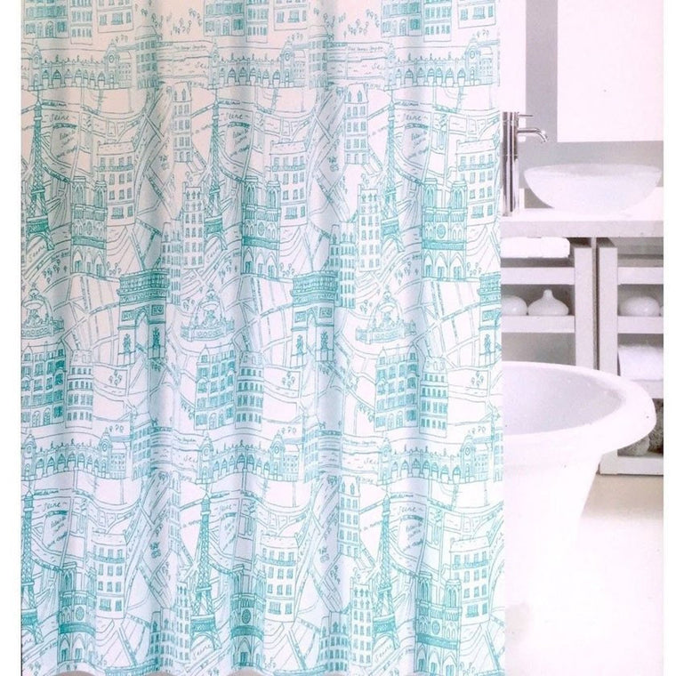 Aqua Teal Seagrass and Colorful Tropical Fish Fabric Shower ...