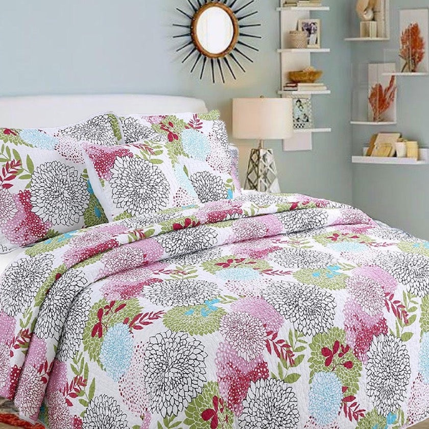 Savannah Chic Floral Pink Black and Gray Blooms Quilt Set
