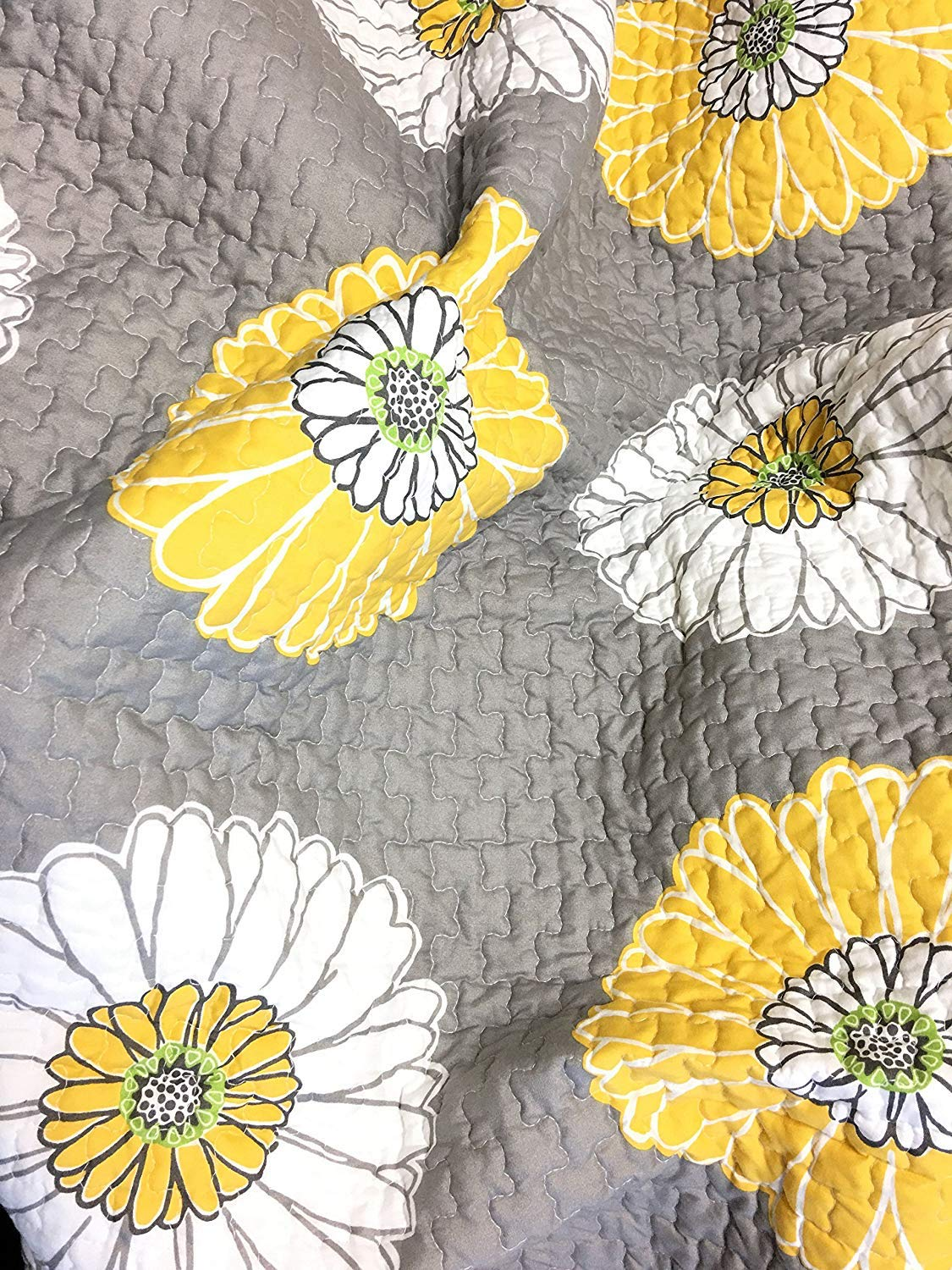Miss Daisy Dove Gray Floral Quilt Set Sunshine Yellow And White