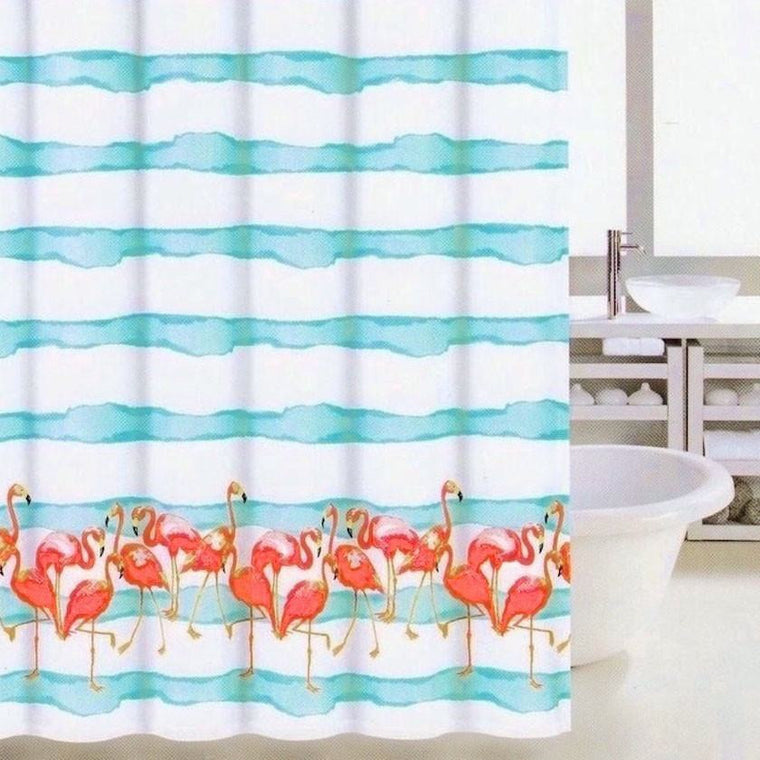 Shower Curtains   Frankie Flamingo Aqua Blue And White Stripe Coastal  Fabric Shower Curtain