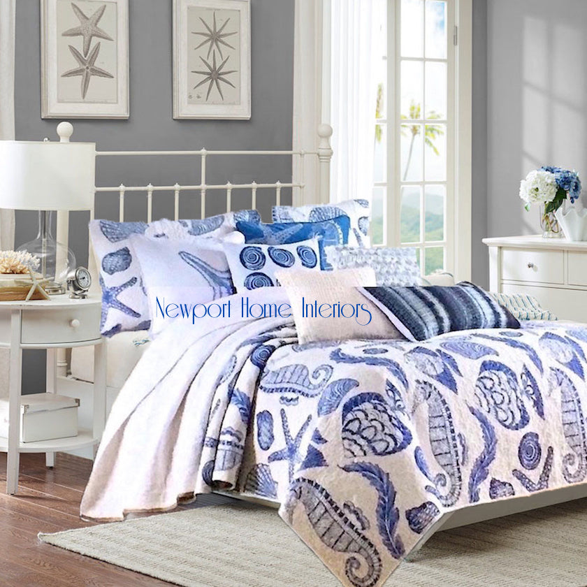 Ocean Treasures Navy Blue And White Beach House Quilt Set