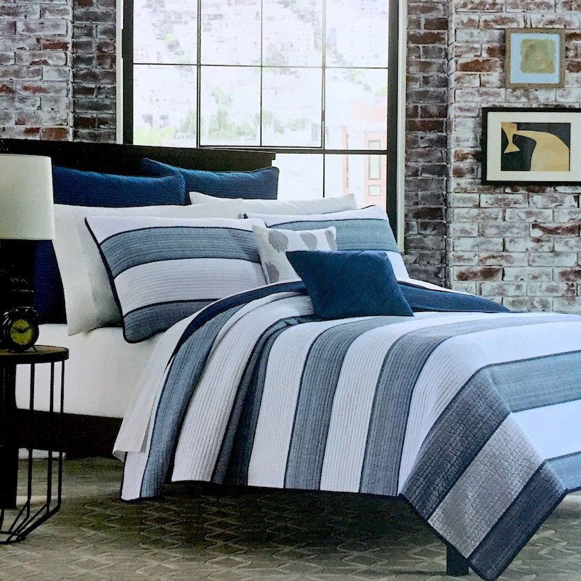 blue and white cabana stripes with navy blue trim quilt set