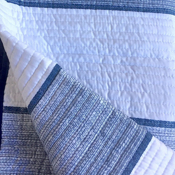 Blue And White Cabana Stripes With Navy Blue Trim Quilt