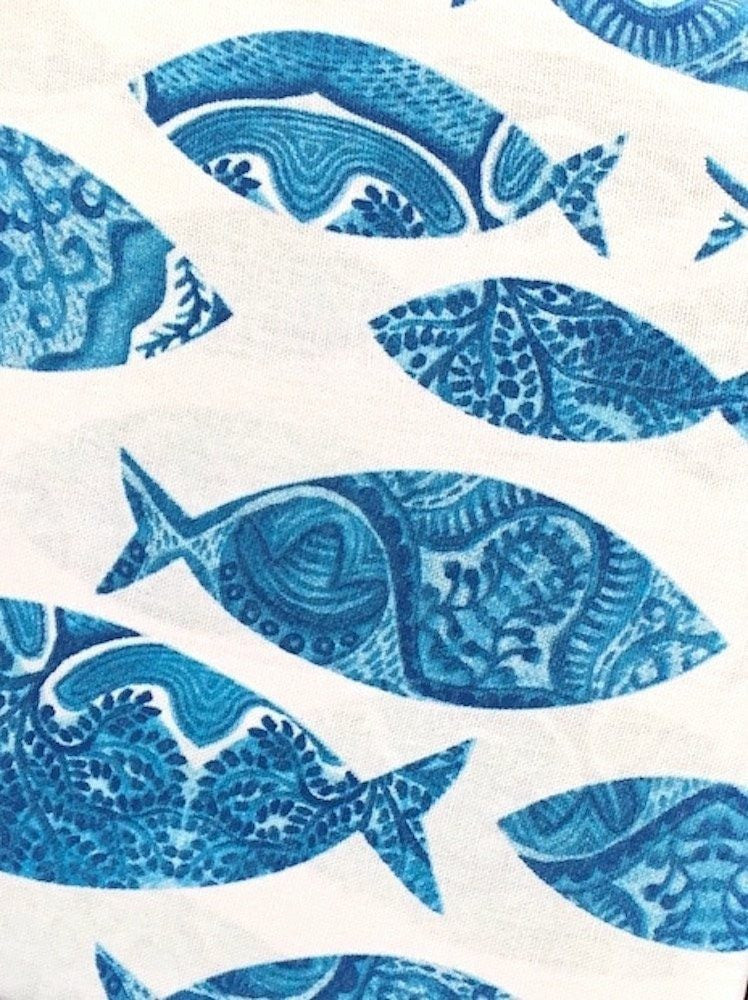 Tropical Artistic School of Swimming Fish - Fabric Shower Curtain ...