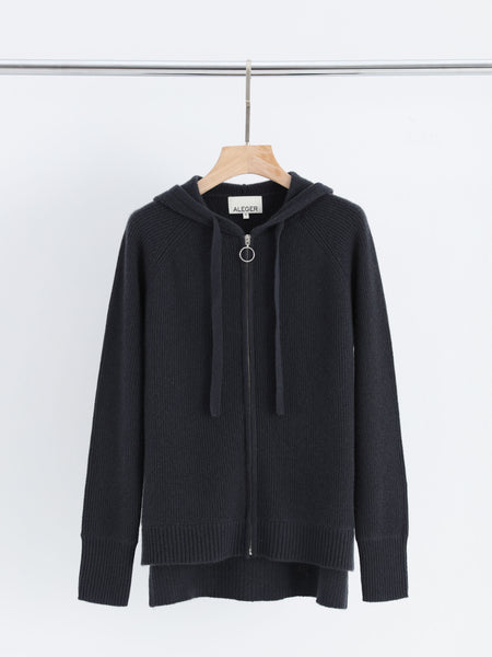 Aleger Cashmere Zip Front Hoody in Hunter