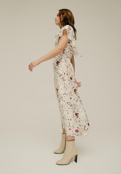 Lily and Lionel Anna Dress in Pressed Floral Ivory Print