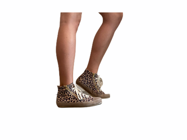L'Ecologica Leopard and Taupe High Tops