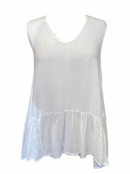 Transit Par Such Tank with Frill Bottom in White