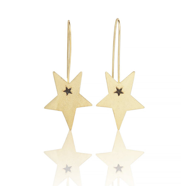 Sarah Stretton Shooting Star Earrings in Gold