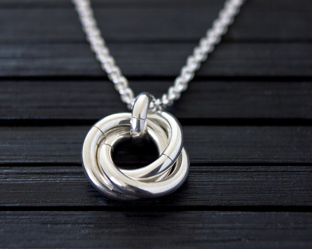 Minimalist Nest of Three Chainmaille Pendant Necklace