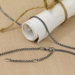 Adjustable 1.7mm Argentium Silver Wheat Chain - Femailler
